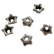 Heather's cf 650 Pieces Silver Tone Tiny Pentagon Beads Caps Findings Fit 4-6mm Round Beads Jewellery Making 4mm