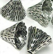Burts Beads - 10 Silver Pewter Cone Caps Beads 9x12mm Lead-Free NJOY12848