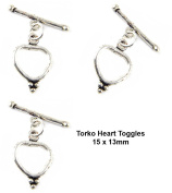 5sets Indian Antique Silver Torga Heart Toggle Clasp for Jewellery Making TVT-Y10