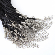 "Bingcute 50Pcs Black Satin Necklace Cord 2.0mm Size/20Inch length with Lobster Clasp 2""inch Extended Chain"