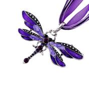Akak Store Fashion Creative Bohemian Jewellery Ethnic Multi-layer Chain Colourful Enamel Dragonfly Pendant Necklace(Purple)