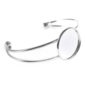 Silver-tone Bezel Blank Bracelet For Men and Women Pack of 5 Fit 2.5cm Round Cabochon,adjustable