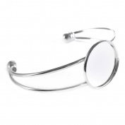Silver-tone Bezel Blank Bracelet For Men and Women Pack of 5 Fit 2.5cm Round Cabochon,adjustable