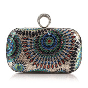 AIJUN Bohemia Style Exquisite Seed Bead Purse Shinning Evening Prom Handbag with Rhinestone Studded-Colourful