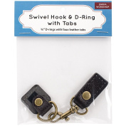 Swivel Hook & D-Ring W/Tabs-Brown Tabs W/Brass Hardware