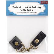 Swivel Hook & D-Ring W/Tabs-Brown Tabs W/Brass Hardware
