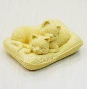 Let'S Diy Lazy Cats 3D Silicone Candle Moulds Handmade Soap Mould