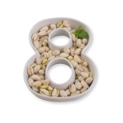 White Ceramic Number Dish for Table Decoration, Number 8