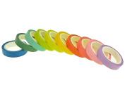GAROFF - Rainbow (Pastel Bright ) Washi Tape Set 10x Decorative DIY Arts & Crafts