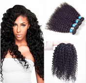 Etino 4 Bundles Brazilian Virgin Hair Kinky Wave with 1 Piece Lace Closure (4*4) Natural Colour Human Hair Extensions