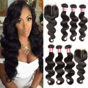 Jolia Hair 6A Grade Brazilian Virgin Body Wave Hair 3 Bundles with Middle Part Lace Closure, Full Head 100% Unprocessed Human Hair Weave Extensions