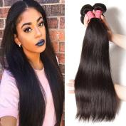 Jolia Hair Brazilian Virgin Hair Straight Weave 3 Bundles, 6A Unprocessed Brazilian Remy Human Hair Extensions Natural Colour Weft