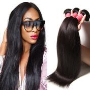 Jolia Hair 18 20 60cm Brazilian Hair Straight 3 Bundles, 95-100g/Bundle, 6A Unprocessed Brazilian Virgin Human Hair Extensions, Natural Colour Hair Weave