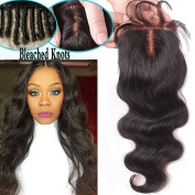 Gamay Hair Body Wave 8.9cm x 10cm Middle Part Brazilian Virgin Lace Closure Human Hair Bleached Knots with Baby Hair
