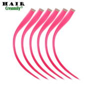 Creamily® 6 Pieces of Hot Pink 50cm Inches Multi-colours Party Highlights Clip in Synthetic Hair Extensions