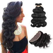 ALOT Hair 100% Unprocessed Brazilian Real Human Hair 3 Bundles with 134 Ear to Ear Lace Frontal Closure, Body Weave Hair Extensions , Natural Colour Weft