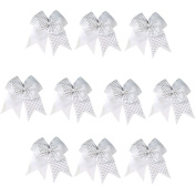 CN 10pcs 18cm Girls Big Hair Bow Rhinestone Cheer Bow Attached Elastic Hair Tie for Cheerleader