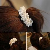 Sannysis 1PC Shine Korean Women Pearls Beads Hair Band Rope Scrunchie Ponytail Holder For Girls
