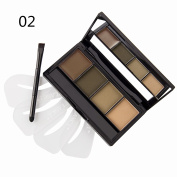 DE'LANCI 4 Colours Eyebrow Powder Wax Contour Kit Cosmetic Shading Contouring Eyebrow Makeup Palette Pro Dark Brown Light Brow Set with Mirror+ Dual Ended Make Up Brush Tool+4 x Eye Brow Stencils
