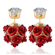 Women's Stud Earrings,Doinshop Fashion Flower Rose Eardrops Wedding Earbob Jewellery