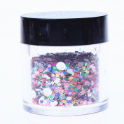 ECBASKET 1 Jar Hottest Hexagon And Round Shinning Red Glitter Powder Nail Dust