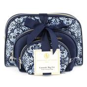 Adrienne Vittadini Women's three Dome Shaped Cosmetic Bags Set Blue Tile Print