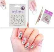 3D Nail Art Decorative Decals Rhinestone At Very Great Price Set Of 10 Self Adhesive Stickers For Toe & Fingernails With The Bonus Pack Of Super Shinny Design Rhinestone + Yellow Stick, 2Gm Glue Stick