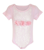 Stephan Baby Angels in Lace Shabby Rose All-in-One Lace Trimmed Nappy Cover with Organza Rosettes, 3-6 Months
