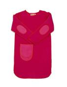 Hej Kid's Ika Sweater Dress, Pink with Orange Trim, 18-24 months
