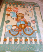 TEDDY BEAR RIDING HIS BIKE HOLDING BALLOONS KOREAN STYLE PLUSH MINK SOFT CHILD BABY BLANKET