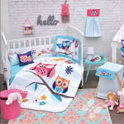 OWL GIRLS CRIB BEDDING SET SHEET 11 PCS COMFORTER,BUMPER GUARD,HEAD BOARD LIMITED EDITION