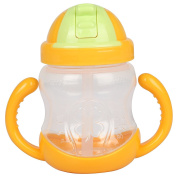 crownroyaljack 280ml Large Capacity Straw Trainer Cup Handle Water Bottle for Baby, Children,Orange