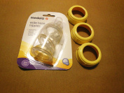 3 MEDELA NIPPLES WIDE slow flow & 3WIDE collars ring for use with medela bottles