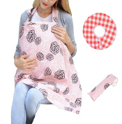 Jennice House 100% Breathable Cotton Baby Breast Feeding Nursing Cover with Bib