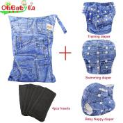 Baby Reuseable Nappy Nappy 1pc,1pc Swim Nappy, 1pc Training Nappy, 4pc Bamboo Inserts,1 Wet/Dry Bag by Ohbabyka
