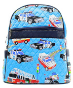 Blue Heron Fire Truck Theme Quilted 33cm Backpack