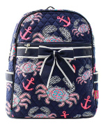 Blue Heron Crab Theme Quilted 33cm Backpack