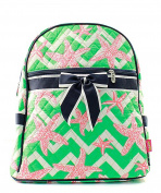 Blue Heron Chevron Starfish Theme Quilted 33cm Backpack