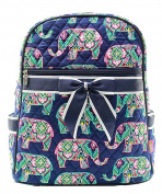 Blue Heron Elephant Theme Quilted 33cm Backpack