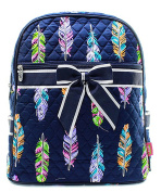 Blue Heron Feather Theme Quilted 33cm Backpack