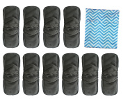 Baby Cloth Nappies Inserts 5 Layer Infant Charcoal Bamboo Inserts Reusable Liners for Cloth Pocket Nappies with Gussets Free Wet and Dry Nappy Bag by Vlokup