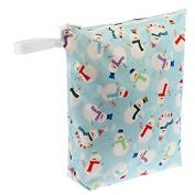 Blueberry Waterproof Zippered Nappy Wet Bag - Frosty Snowman