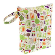Blueberry Waterproof Zippered Nappy Wet Bag - Veggies