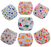 7 Pcs Infant Printed Cloth Nappies Reusable Pattern Nappy Covers Baby Cute Pants
