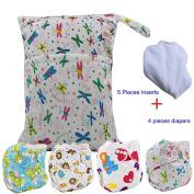 Baby Waterproof Nappy Nappies 4pcs, 5pcs Inserts,1pcs Wet Dry Bag by Ohbabyka