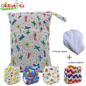 Baby Waterproof Reuseable Nappy Nappies 4pcs, 5pcs Inserts,1 Wet/Dry Bag by Ohbabyka