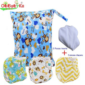 Baby Waterproof Nappy Nappies 3pcs, 5pcs Inserts,1 Wet Bag by Ohbabyka