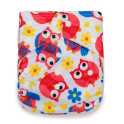 Kawaii Baby One Size Organic Bamboo Terry Cloth Nappy w/ 2 Bamboo Inserts Owl