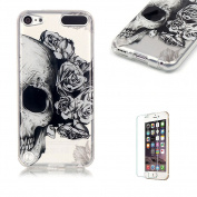 iPod Touch 5/6 TPU Case with Free Screen Protector,Funyye See Through Transparent Soft Rubber Silicone Gel TPU Bumper Ultra Thin Colourful Print Design Protective Case - Flowers Skull
