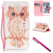 iPhone 6S Case, iPhone 6 Wallet Case, Firefish Kickstand Flip [Card Slots] Wallet Cover Double Layer Bumper Shell with Magnetic Closure Strap Case for Apple iPhone 6/6S 12cm -Owl